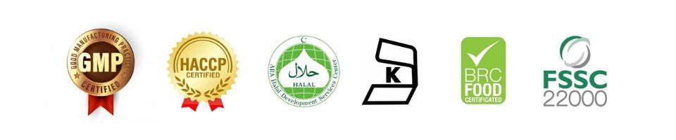 Our Qualifications Certifications (GMP, HACCP, HALAL, KOSHER, BRC, FSSC 22000)