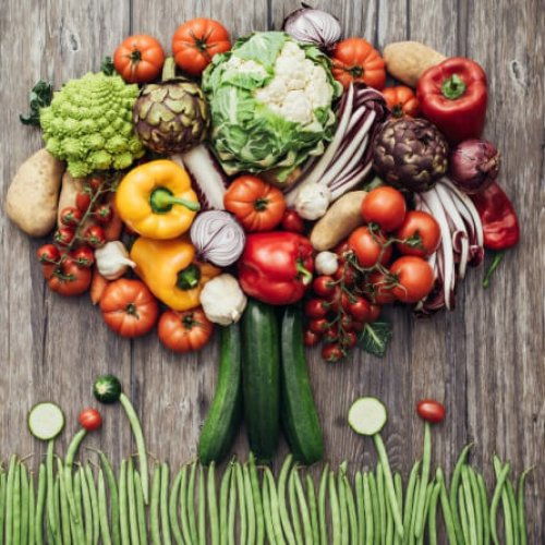 Colorful lush tree made of freshly harvested organic vegetables on a rustic wooden worktop, nutrition and nature concept